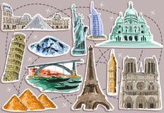 Turist- destinationsbilder royaltyfri illustrationer
