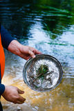 Turist and dish. Tourist dish washing in the river after a meal during the trip Royalty Free Stock Photography