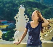 Turist för ung kvinna i den buddistiska templet Kek Lok Si i Penang, Malaysia, Georgetown royaltyfri foto