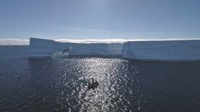 Turist- fartyg bland det Antarktis havet Antennskott stock video