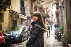 Turist- flicka i Naples arkivbild