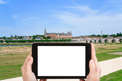 Turist- fotografier av den Gien staden, Frankrike Arkivfoto