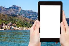 Turist- fotografier av den Taormina staden, Sicilien Royaltyfri Foto