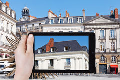 Turist- fotografier av det stads- huset i den Nantes staden arkivbild