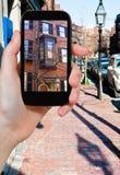 Turist- fotografier av gatan i Boston Arkivbilder