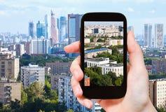 Turist- fotografier av stads- bosatt område i Moskva Royaltyfri Bild
