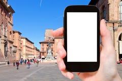 Turist- fotografifyrkant i Bolognastad Royaltyfria Bilder