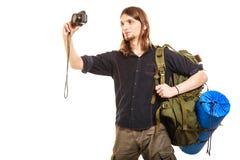 Turist- fotvandrare för man som tar fotoet med kameran Arkivbilder
