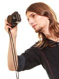 Turist- fotvandrare för man som tar fotoet med kameran Royaltyfri Bild