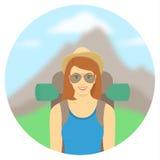 Turist för ung kvinna med en ryggsäck Arkivfoton