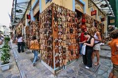 Turist- gata i Agra, Grekland Arkivfoto
