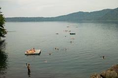 Turist- gruppsimning på Laguna de Apoyo, Nicaragua Royaltyfria Bilder