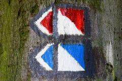 Turist- guidepost i ett träd Royaltyfri Foto