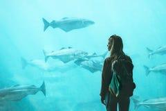Turist- hålla ögonen på för kvinna för fisk i stort akvarium royaltyfri foto