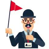 Turist- handboklägenhetsymbol med den röda flaggan stock illustrationer