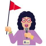 Turist- handboklägenhetsymbol med den röda flaggan vektor illustrationer