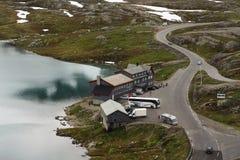 Turist- information på sjön Dyupvatnet, Norge Royaltyfria Bilder