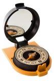 Turist- kompass med spegeln Arkivbild