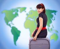 turist- kvinnabarn för bagage arkivfoton