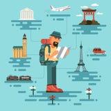 Turist med översikten stock illustrationer