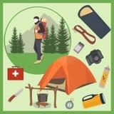 Turist med campa utrustning royaltyfri illustrationer