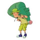 Turist med den stora ryggsäcken stock illustrationer