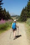 Turist med en ryggsäck på en väg Arkivfoton