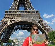 A turist near Tour Eiffel. A turist near  Tour Eiffel in Paris with blue sky Royalty Free Stock Images