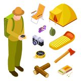 Turist och campa isometrisk samling för utrustningvektor stock illustrationer