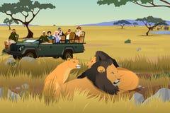 Turist på afrikanen Safari Trip Illustration vektor illustrationer