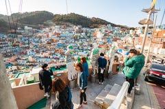 Turist på den Gamcheon kulturbyn Royaltyfri Fotografi