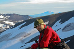 Turist-photographer. Kamchatka. Stock Photo