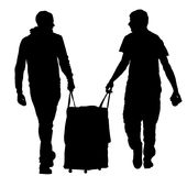 Turist- pojkehandelsresande som bär resväskakonturn vektor illustrationer