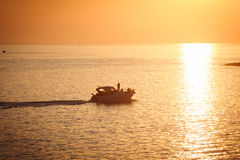 Turist ship on sunset Royalty Free Stock Photos