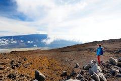Turist som beundrar hisnande sikt av den Mauna Loa vulkan på den stora ön av Hawaii, USA arkivbild