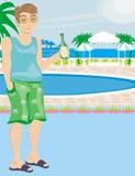 Turist som dricker öl vid pölen stock illustrationer