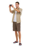 Turist som gör foto av punkter av intresse Arkivbilder