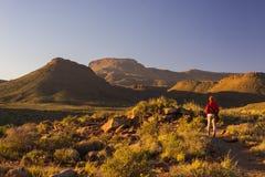 Turist som går på tydlig slinga i Karoonationalparken, Sydafrika Sceniska tabellberg, kanjoner och klippor på solnedgången Annons Royaltyfri Bild