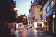 Turist- ställen, historiska gator i Prague Arkivbilder