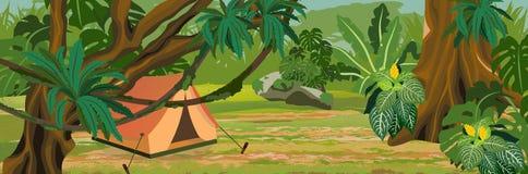 Turist- tält i djungeln Tropiska Rainforests för en skog av Amazonia stock illustrationer