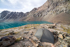 Turist tent at Ala-Kul lake. Tien Shan, Kyrgyzstan Royalty Free Stock Image
