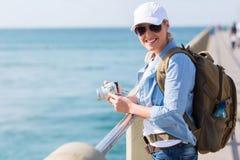 Turist- tyckande om semester Arkivbild