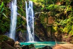 Turist- upphetsad för Hawaii kvinna vid vattenfallet arkivbilder