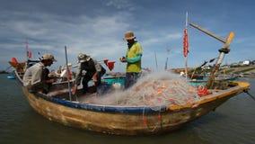 Turist Vietnam Fiskeläge i Mui Ne arkivfilmer