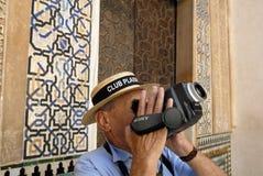 Turista a Alhambra, Granada Spagna immagini stock libere da diritti