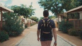 Turista americano na caminhada na cidade vídeos de arquivo