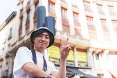 Turista asiático que viaja em Europa imagem de stock