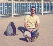 Turista, auriculares Foto de archivo