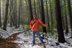 Turista che cammina lungo una pista della foresta Immagini Stock Libere da Diritti