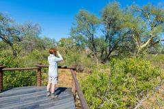 Turista che esamina panorama con binoculare dal punto di vista sopra il paesaggio scenico e variopinto del fiume di Olifants, con Fotografia Stock